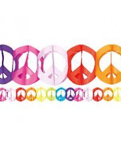 Tie Dye Fun Peace Sign Garland - 4 m