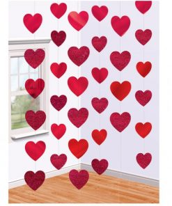 Valentines Red Heart Hanging Strings Decoration