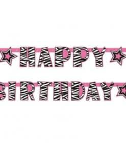 Zebra Passion Pink Party Happy Birthday Banner
