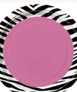 Zebra Passion Pink Party Paper Dessert Plates