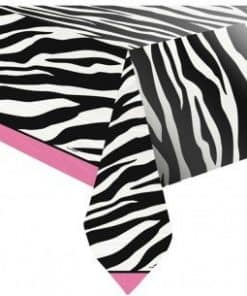 Zebra Passion Pink Party Plastic Tablecover