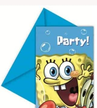 Spongebob Square Pants Party Invitation Cards