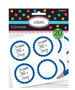 Bright Blue Party Candy Labels