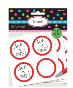 Red Party Candy Labels