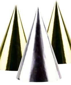 Silver & Gold Foil Cone Hats
