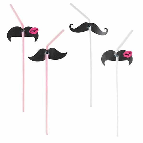 Moustache Drinking Straws