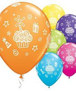Presents & Cupcakes Printed Latex Balloons