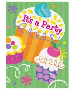 Cupcake Party Invitation Cards