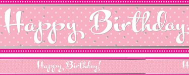 Happy Birthday Perfectly Pink Foil Banner - 2.7m