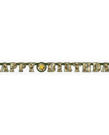 Military Camo Party Happy Birthday Banner