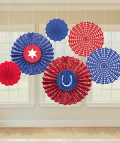 Wild West Party Hanging Paper Fans
