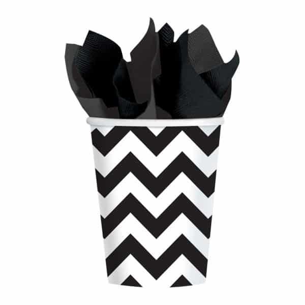 Black Chevron Party Paper Cups