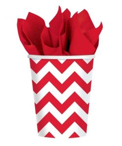 Red Chevron Party Paper Cups