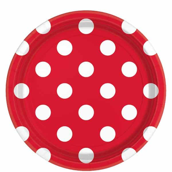 Red Polka Dot Party Paper Plates