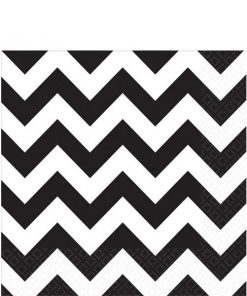 Black Chevron Party Paper Napkins