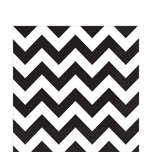 Black Chevron Party Paper Napkins
