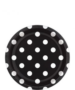 Black Polka Dot Party Paper Dessert Plates