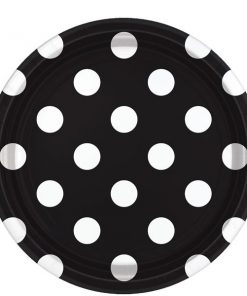 Black Polka Dot Party Paper Plates
