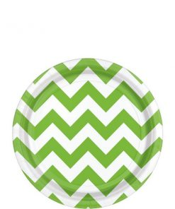 Lime Green Chevron Party Paper Dessert Plates