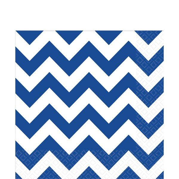 Royal Blue Chevron Party Paper Napkins