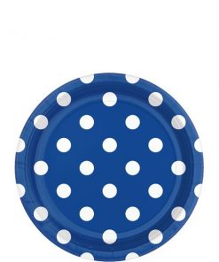 Royal Blue Polka Dot Party Paper Dessert Plates