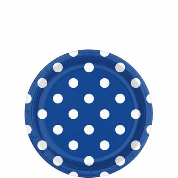 Royal Blue Polka Dot Party Paper Dessert Plates