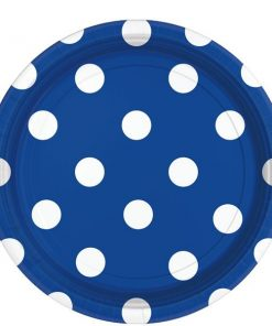 Royal Blue Polka Dot Party Paper Plates