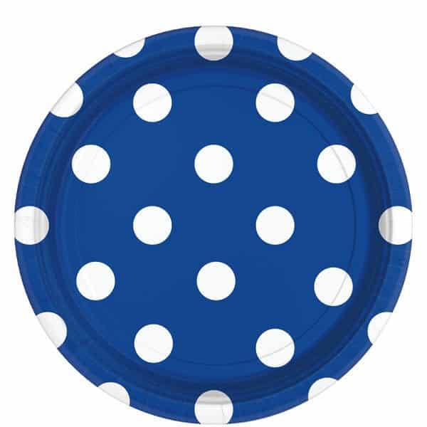 Royal Blue Polka Dot Party Paper Plates