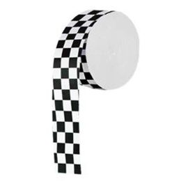 Black and white checked crepe roll