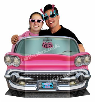 Pink convertible photo prop