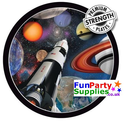 Space themed party plates