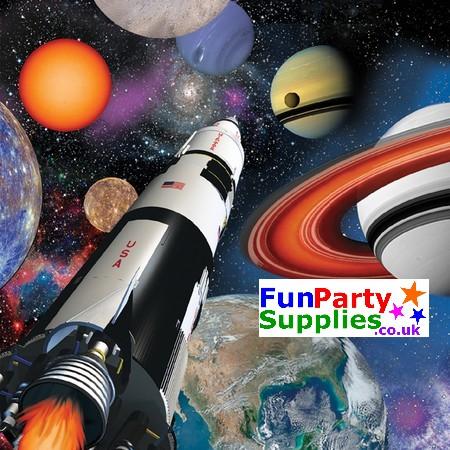 Space Blast Happy Birthday Napkins - 3ply Pk 16