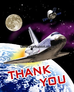 Space rocket themed thank you cards