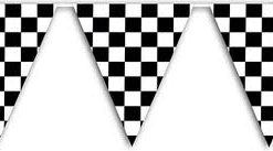 Black and White check Grand Prix bunting