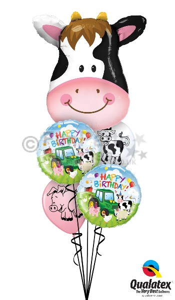 Cow themed helium balloon bouquets