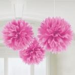 Pink tissue pom poms