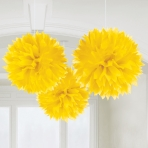 Yellow tissue pom poms