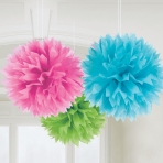 Pink Green Blue Mixed tissue pom poms