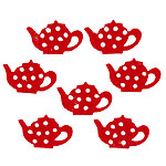 Cake Decorations - Sugar Toppers - Red Dotty Sugar Teapots (5pk)
