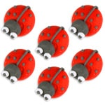 Cake Decorations - Sugar Toppers - Ladybirds (5pk)