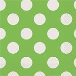 Green Polka Dot Napkins - pk 16