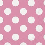 Pink Polka Dot Napkins - pack of 16