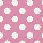 Pink Polka Dot Napkins - pack of 16