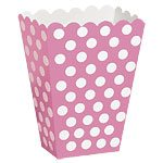 Pink Polka Dot Treat Boxes - pack of 8