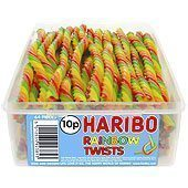Haribo Rainbow Twists Tub - pack of 64