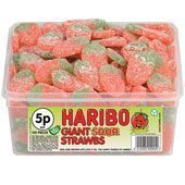 Haribo Sour Jelly Strawbs Tub - pack of 120