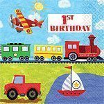On The Go Happy 1st Birthday Napkins - pack of 16