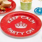 Keep Calm & Party On Paper Plates, pack of 8