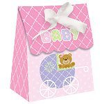 Pink Teddy Baby Shower Favour Bags - pk 12