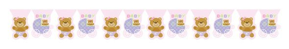 Pink Teddy Baby Shower Bunting 3.7metres long